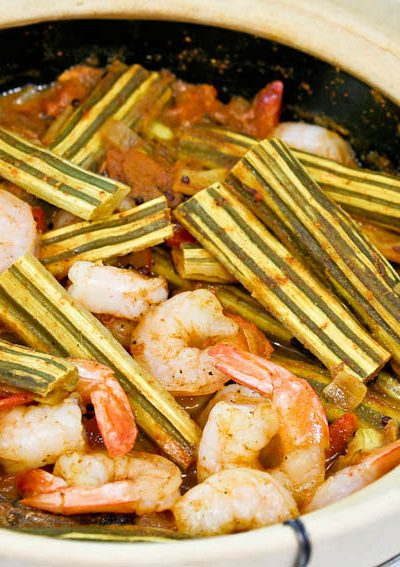 """This Drumstick Shrimp Curry features the immature pods of moringa oleifera. It is a must-try if you are curious about edible """"drumsticks"""".   RotiNRice.com"""