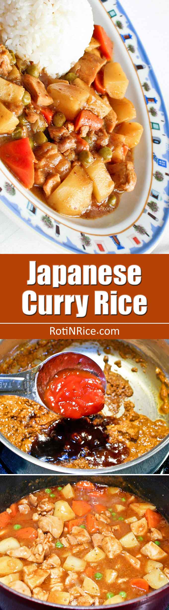 Mild and delicious Japanese Curry Rice made from scratch using curry powder, garam masala, tomato sauce, thick Worcestershire sauce, and rice flour. | RotiNRice.com