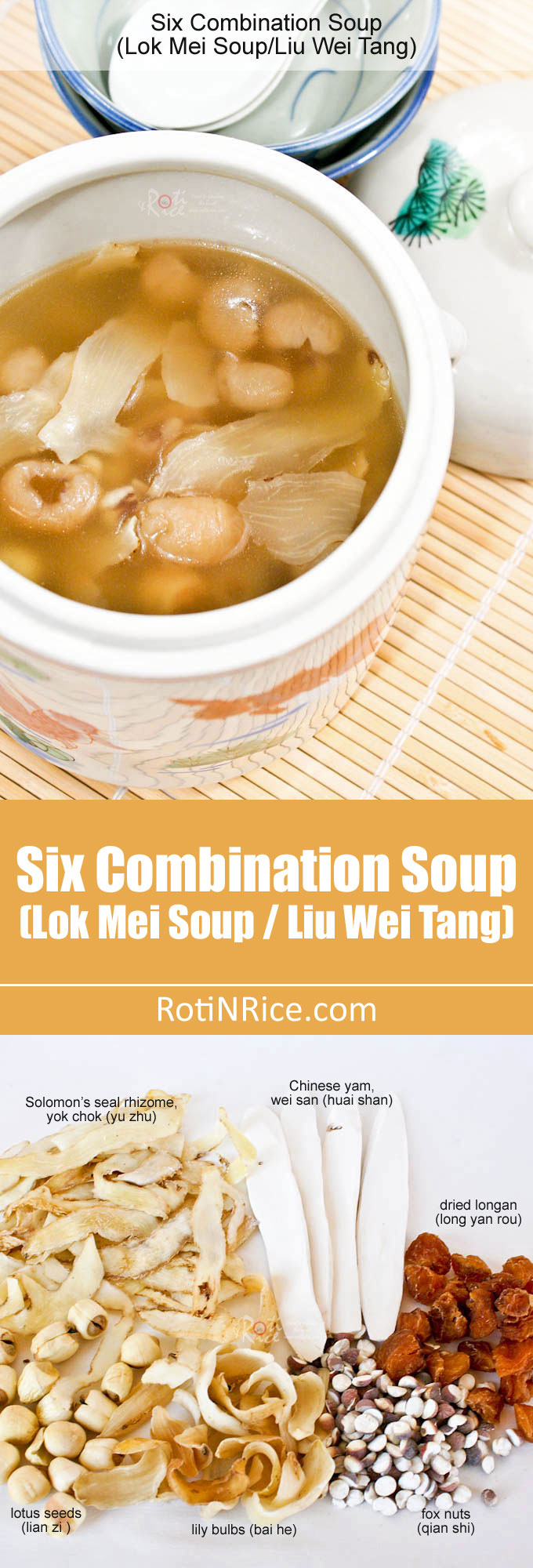 "Discover and combine your own six Chinese dried herbs for this nutritious and classic Six Combination Soup, popularly known as ""Lok Mei Tong"". 
