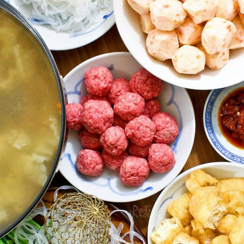 Chinese Hot Pot with a mix of homemade and store bought dipping ingredients.