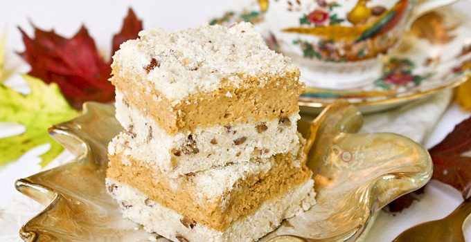 These Pumpkin Streusel Cheesecake Bars are a combination of pumpkin pie and cheesecake. Just the kind of food for the season! Recipe includes gluten free and traditional versions.| RotiNRice.com