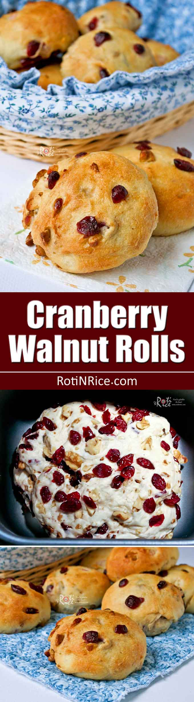 These tasty and beautiful Cranberry Walnut Rolls are delicious served warm with butter for breakfast or the holiday table. | RotiNRice.com