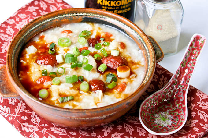 Warm comforting Turkey Rice Porridge (Turkey Congee) using leftover Thanksgiving roasted turkey and stock. A dish to look forward to the next morning. | RotiNRice.com