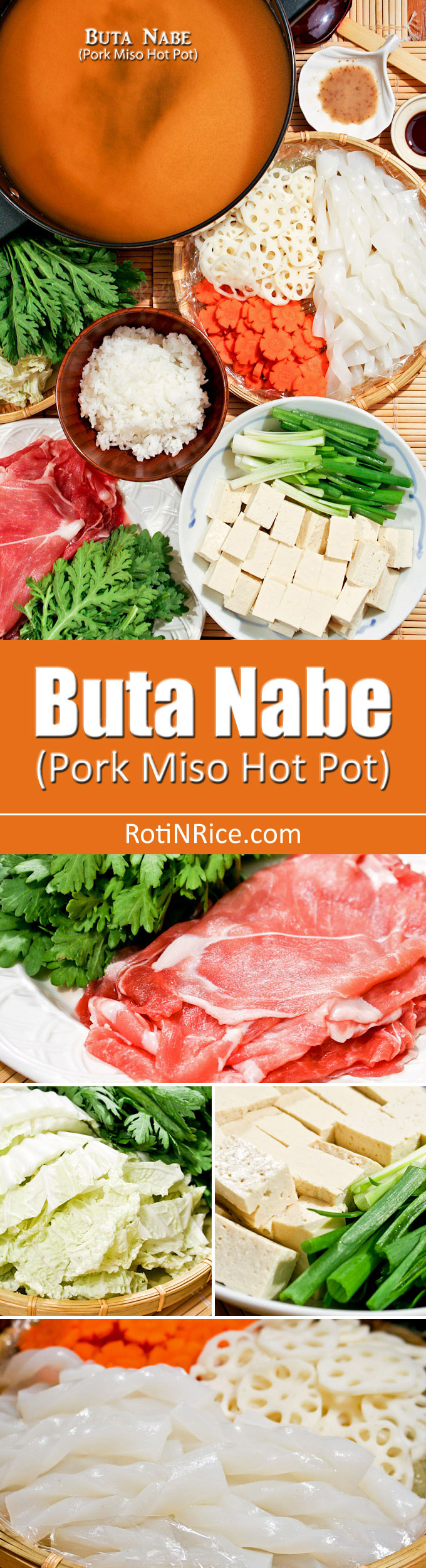 This quick and easy Buta Nabe (Pork Miso Hot Pot) can be put together in 30 minutes. Cooking is done at the table. Very warm and comforting on a cold day. | RotiNRice.com