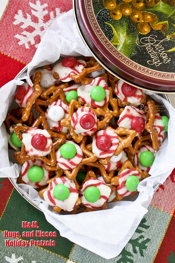 Holiday Pretzels in a tin ready for gift giving.