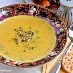 This warm and comforting Cream of Kabocha and Wild Rice Soup is especially good during the winter months. Delicious served with crackers or crusty bread. | RotiNRice.com #kabocharecipes #wildricesoup #wildricerecipes #creamysoups