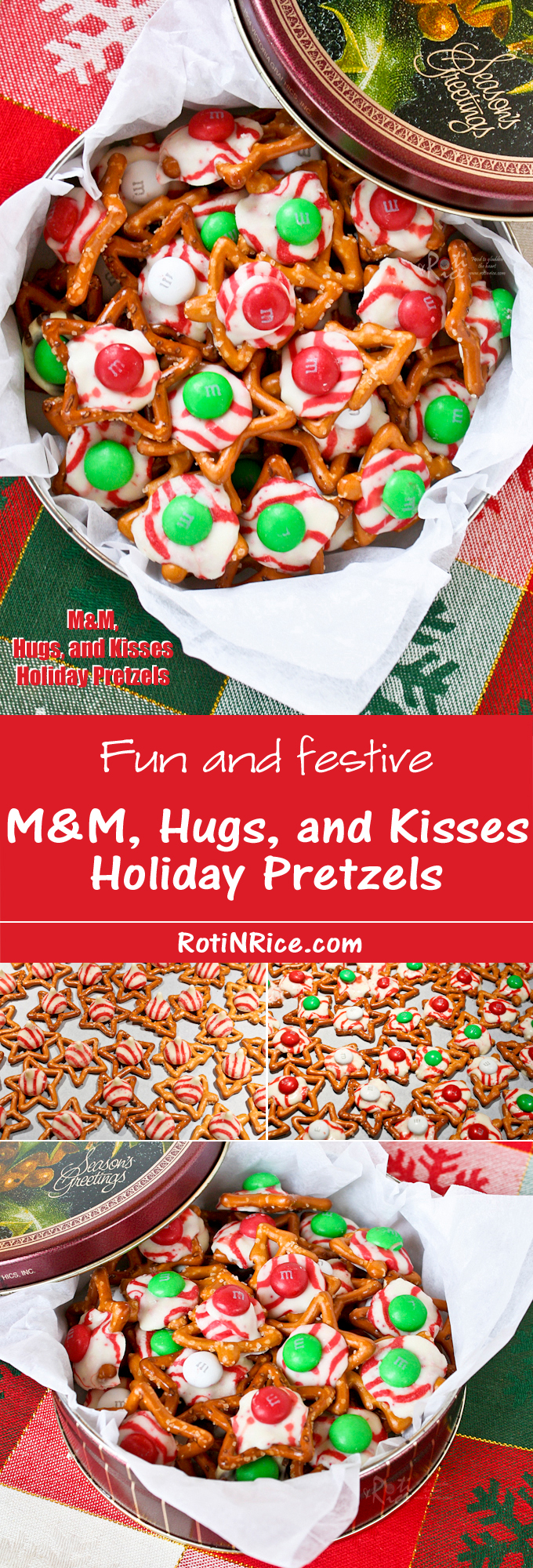 Fun, festive M&M, Hugs, and Kisses Holiday Pretzels with an irresistible sweet salty combination. Takes only minutes to prepare. | RotiNRice.com