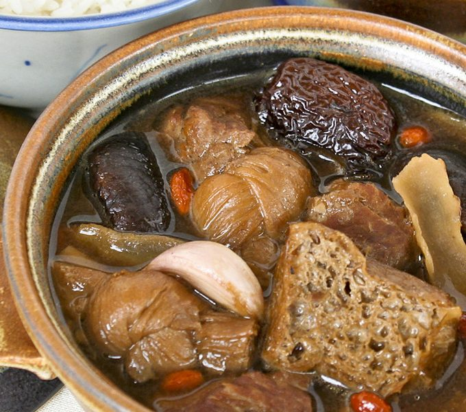 Bak Kut Teh served with steamed rice and yew char koay.
