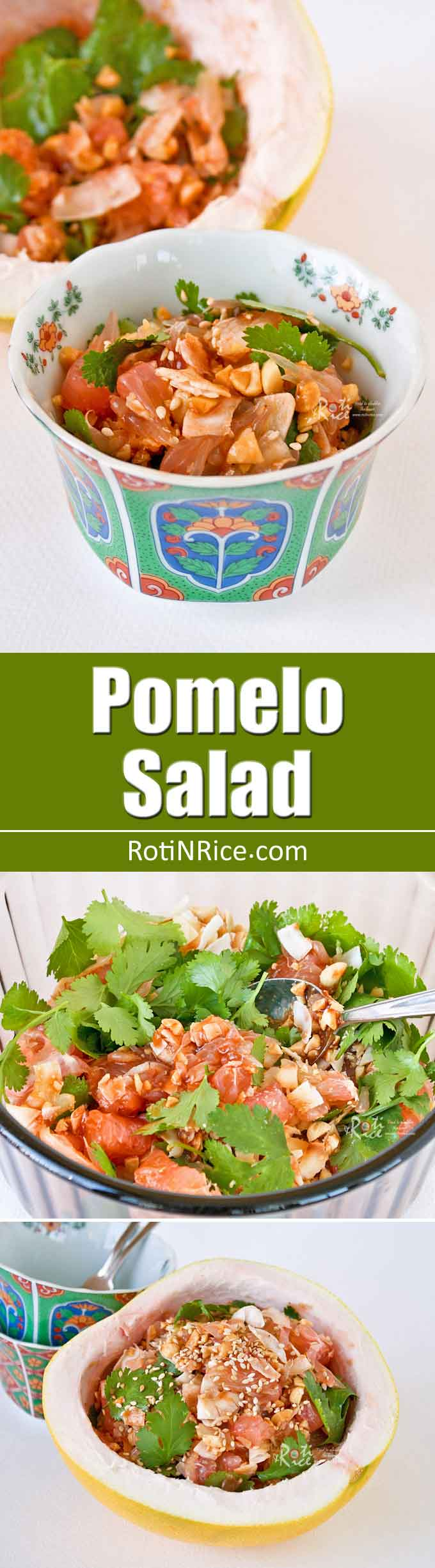 This delicious Pomelo Salad with chopped peanuts and toasted coconut flakes is a must-try! It is sweet, tangy, juicy, and refreshing. | RotiNRice.com