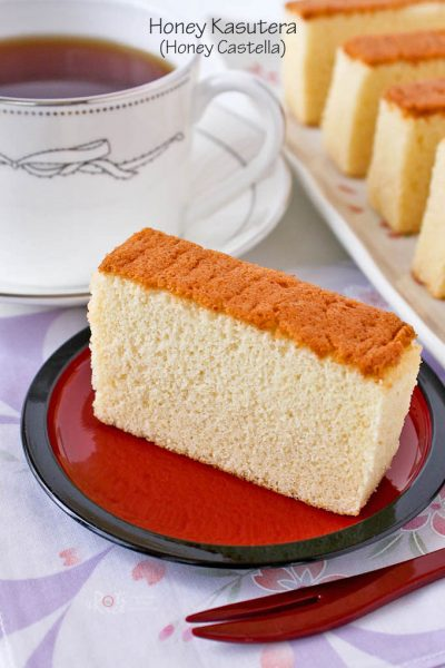 Honey Castella served with a cup of tea.