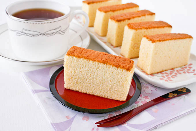 Fine textured Japanese Honey Castella cake.