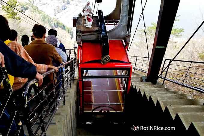 Cable car ride from Mt. Kachi Kachi down to Lake Kawaguchiko