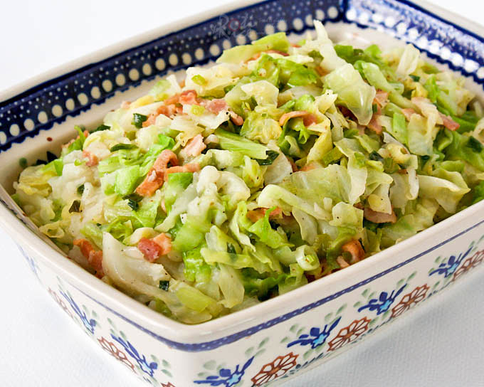 Colcannon, a traditional Irish dish of mashed potatoes with cabbage.