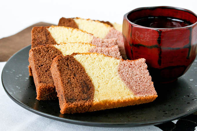 Delicious tri-colored Neapolitan Castella