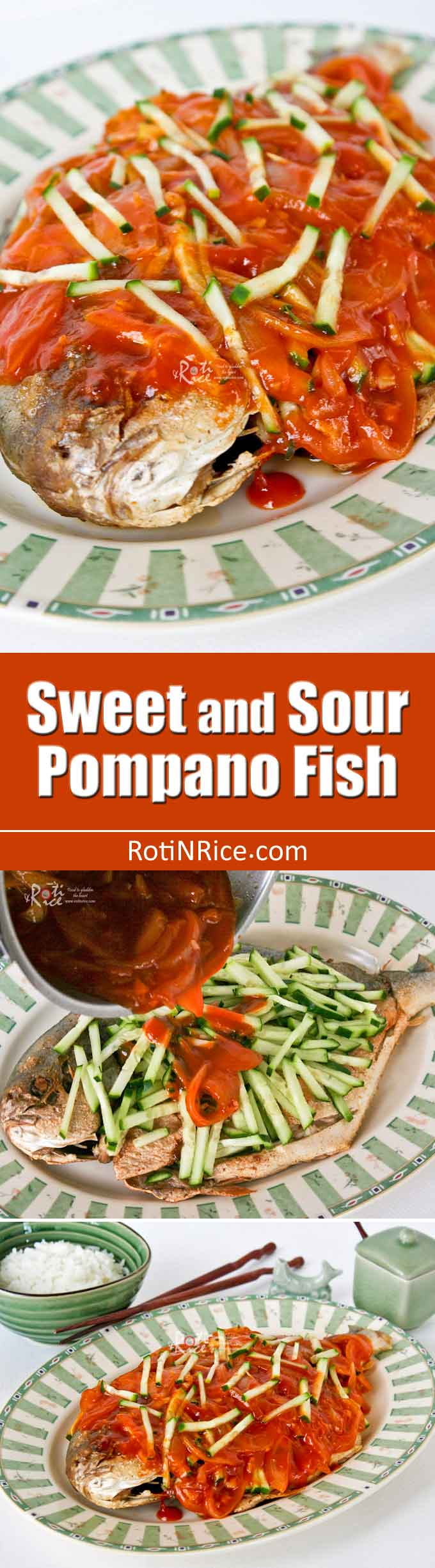 Sweet and Sour Pompano Fish with homemade sweet and sour sauce garnished with julienned cucumber. So easy yet so tasty. Perfect with a bowl of steamed rice. | RotiNRice.com