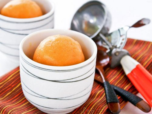 Cantaloupe And Mango Sorbet Roti N Rice Measure 4 cups of puree and discard the rest. cantaloupe and mango sorbet