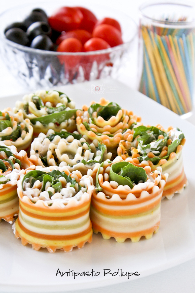 Easy to make Antipasto Rollups made with naturally colored striped pasta that are both pleasing to the eye and palate. Great as party finger food. | RotiNRice.com
