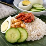 Nasi Lemak Bungkus (Coconut Flavored Rice with Spicy Anchovies Wrapped in Banana Leaves)