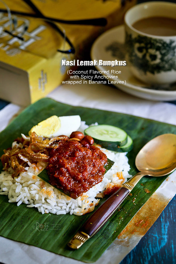 Nasi Lemak Bungkus served with white coffee.