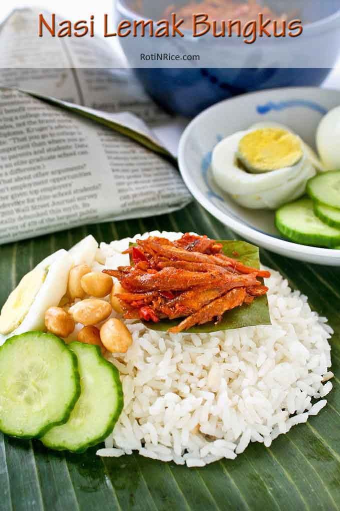 Nasi Lemak Bungkus Coconut Flavored Rice With Spicy Anchovies Wrapped In Banana Leaves Roti N Rice