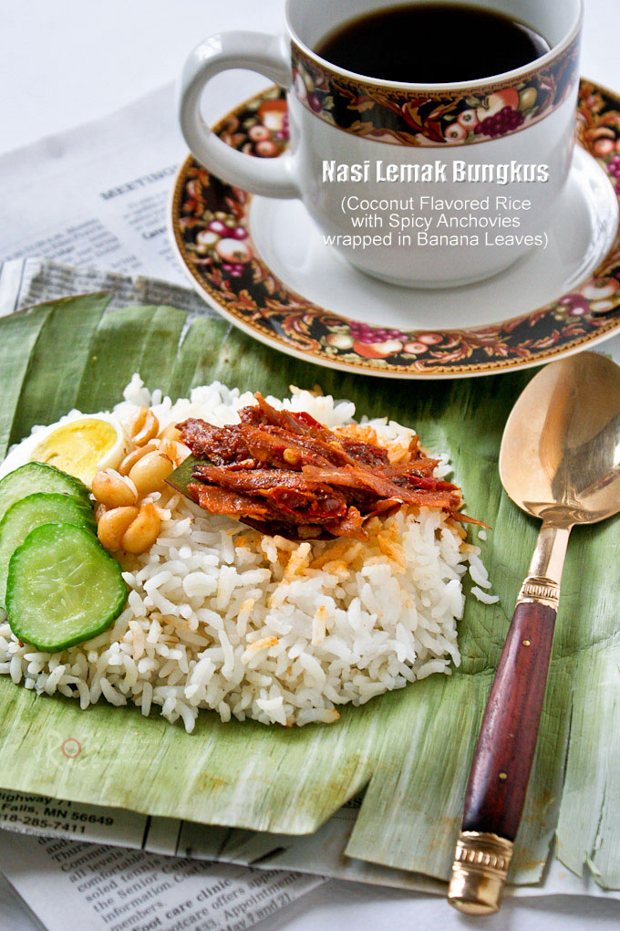 Nasi Lemak Bungkus served with coffee.
