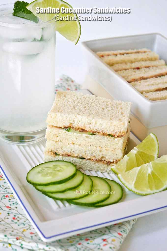 Sardine Cucumber Sandwiches (Sardine Sandwiches) with thinly sliced cucumber are a perennial Malaysian party favorite. It is a well loved budget friendly treat. | RotiNRice.com