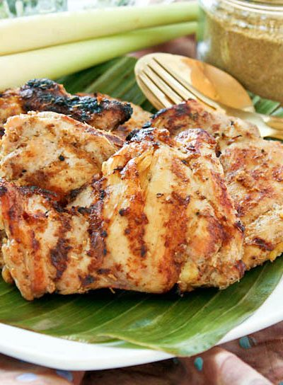 This flavorful Grilled Masala and Lemongrass Chicken uses boneless skinless chicken thighs for a shorter cooking time. Lowfat yogurt helps keep them moist. | RotiNRice.com
