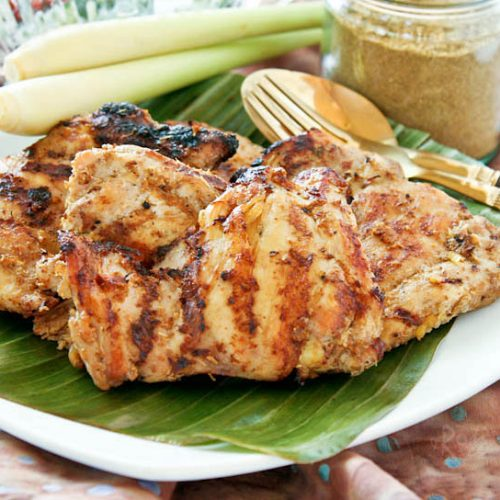 This flavorful Grilled Masala and Lemongrass Chicken uses boneless skinless chicken thighs for a shorter cooking time. Lowfat yogurt helps keep them moist.   RotiNRice.com