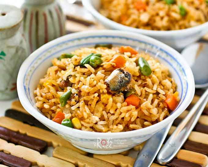 Delicious Sardines Fried Rice with frozen mixed vegetables.