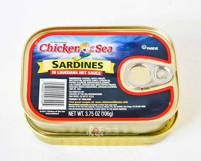 Canned sardines in hot sauce.