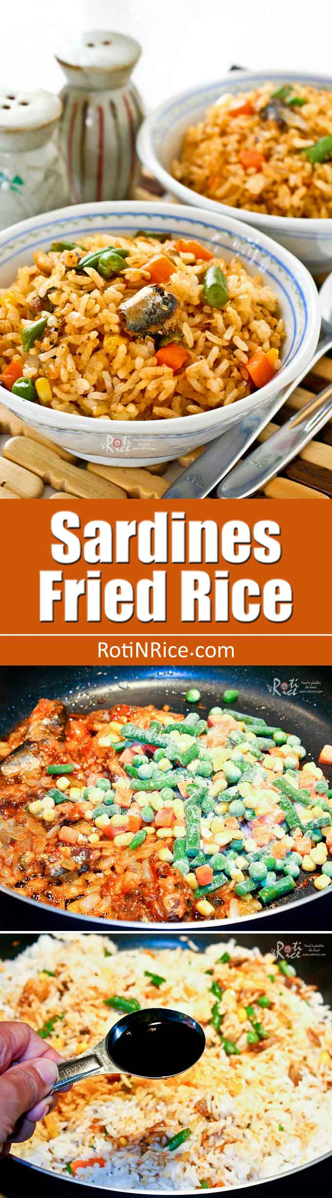 Prepare this tasty Sardines Fried Rice using convenient canned sardines and frozen mixed vegetables. Big on taste with minimum prep work. | RotiNRice.com
