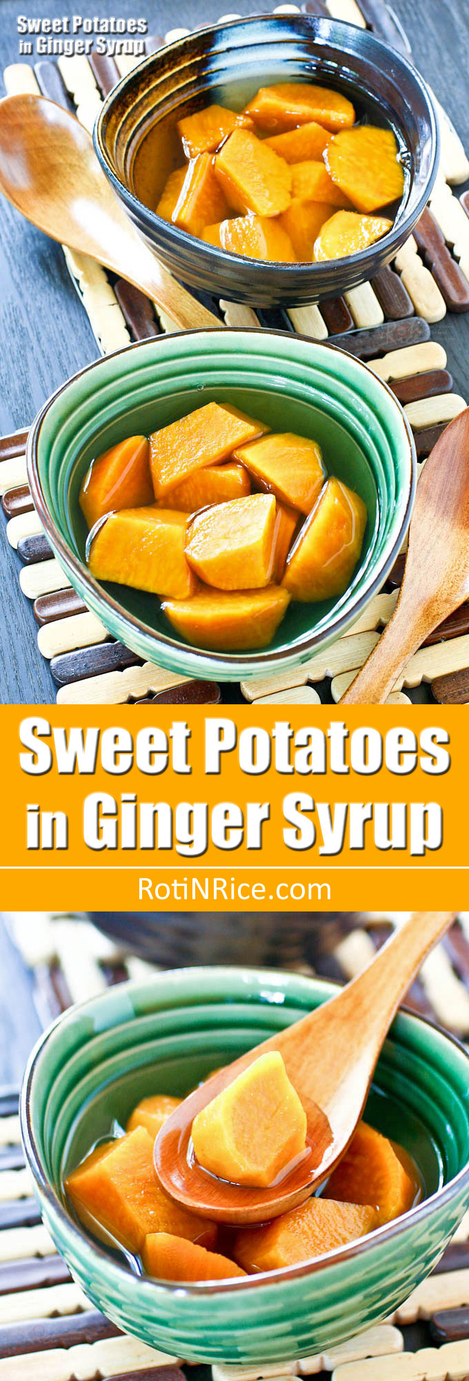Sweet Potatoes in Ginger Syrup is a delicious and warming Chinese dessert using only 3 ingredients. It takes less than 30 minutes to prepare. | RotiNRice.com