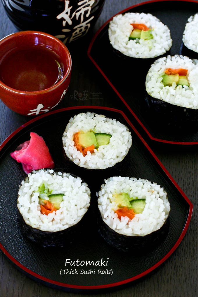 Make your own fresh and delicious Futomaki - Thick Sushi Rolls with lox, avocado, and cucumber. Detailed step-by-step pictorial instructions. | RotiNRice.com