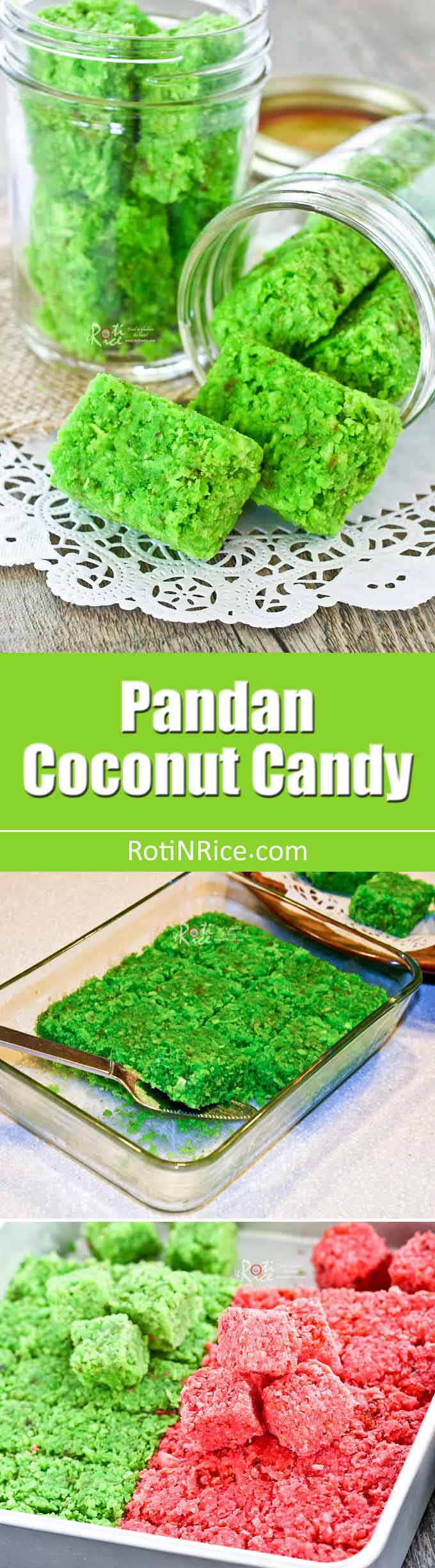 These fragrant and delicious Pandan Coconut Candy flavored with pandan paste are sure to delight. Can be made ahead for all your parties and gatherings. | RotiNRice.com