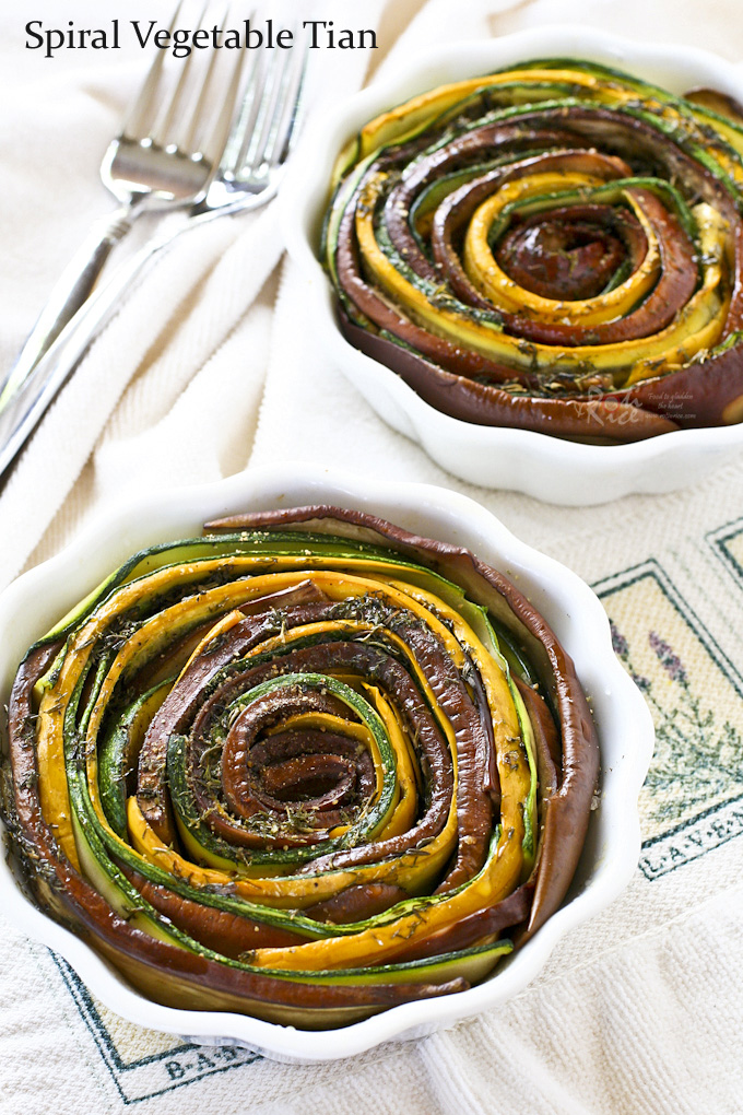 Tasty and eye catching Spiral Vegetable Tian using summer's bounty from the farmer's market. These individual servings are sufficient for a light lunch. | Food to gladden the heart at RotiNRice.com