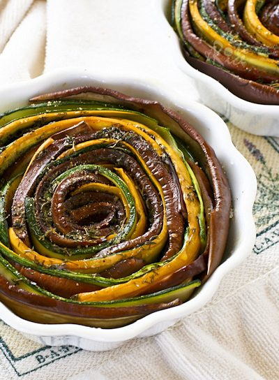 Tasty and eye catching Spiral Vegetable Tian using summer's bounty from the farmer's market. These individual servings are sufficient for a light lunch. | RotiNRice.com