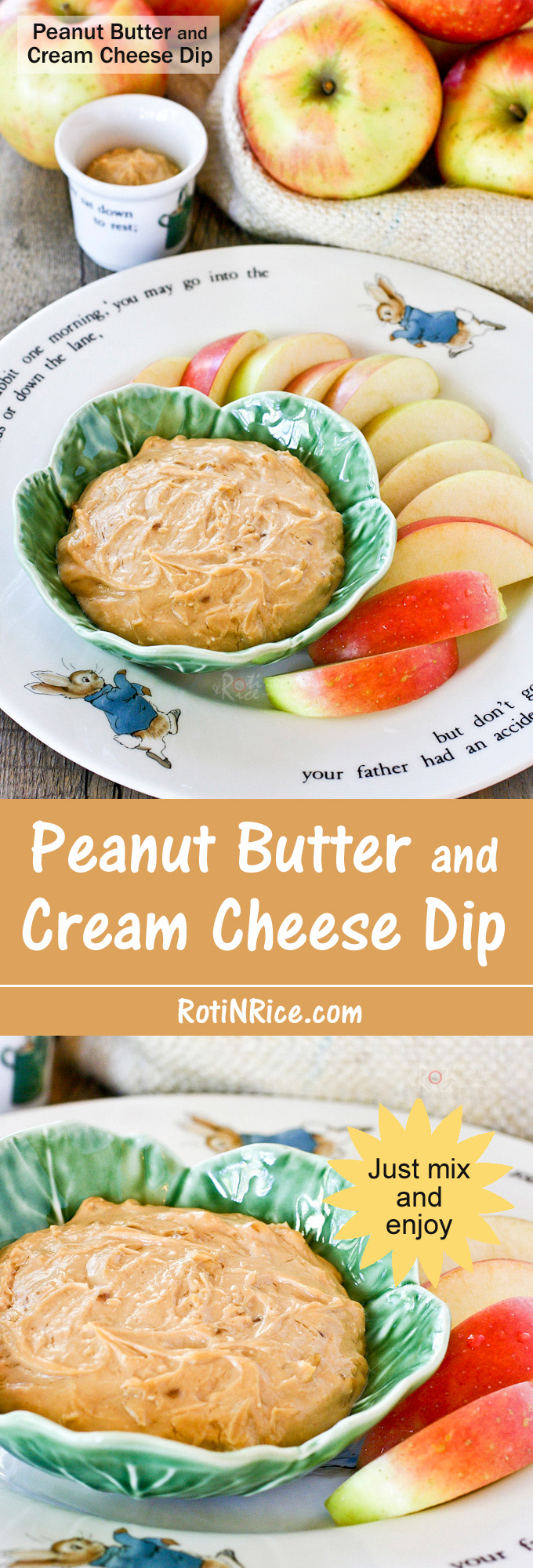 Quick and easy Peanut Butter and Cream Cheese Dip with a sweet salty combination perfect with crunchy fruits, vegetables, and pretzels. Only minutes to prepare. | RotiNRice.com
