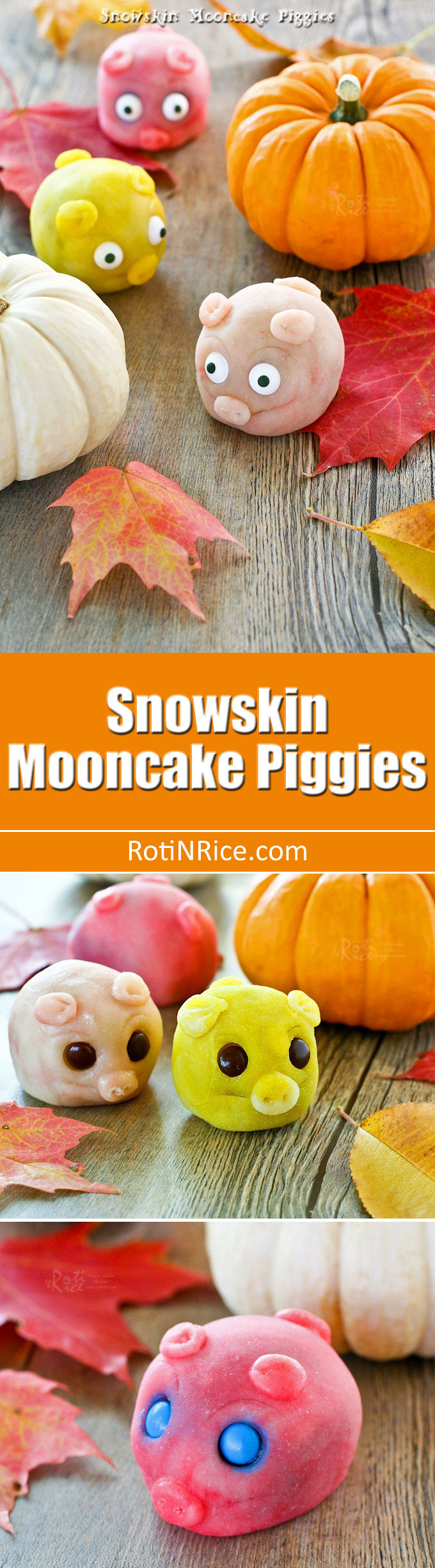 Delightful gluten free Snowskin Mooncake Piggies with lotus seed and red bean paste filling for the Mid-Autumn or Mooncake Festival. | RotiNRice.com
