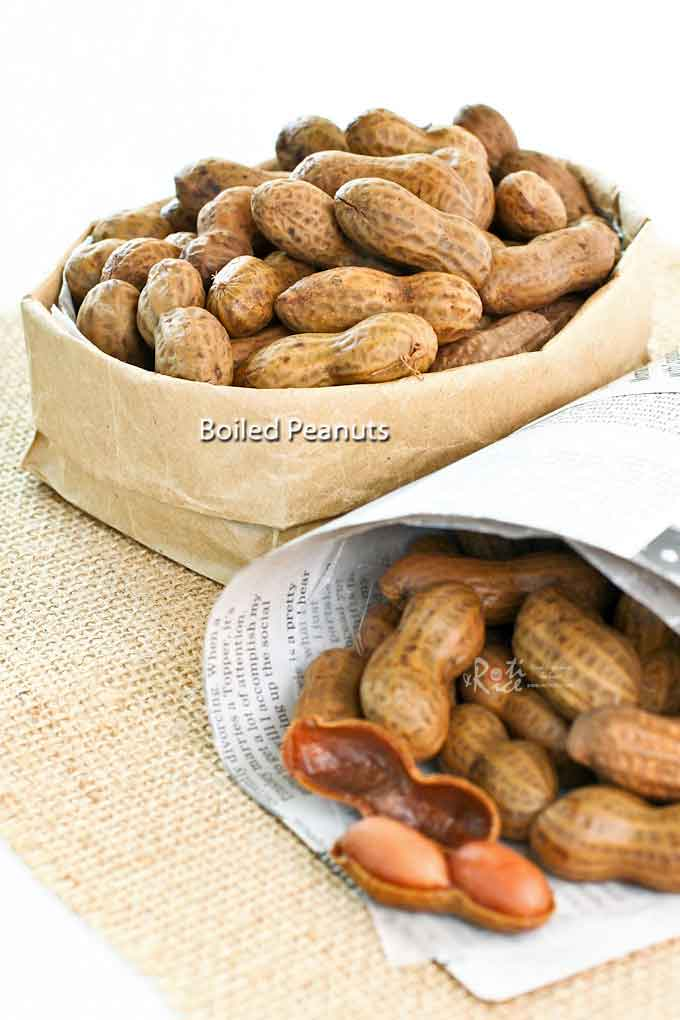 Boiled Peanuts - a deliciously simple and tasty snack. Takes several hours on the stove (much faster in a pressure cooker) but well worth the effort. | RotiNRice.com