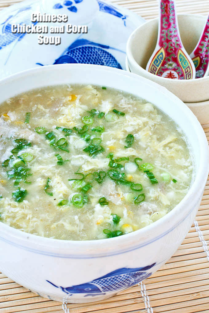 Chinese Chicken and Corn Soup in a soup tureen.