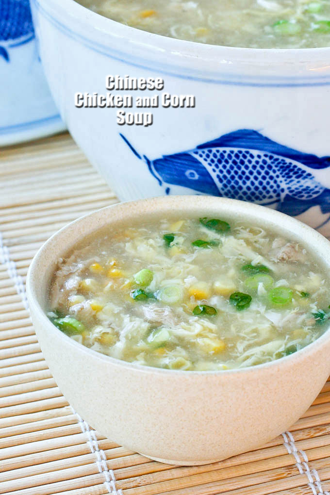 A loaded bowl of Chinese Chicken and Corn Soup.