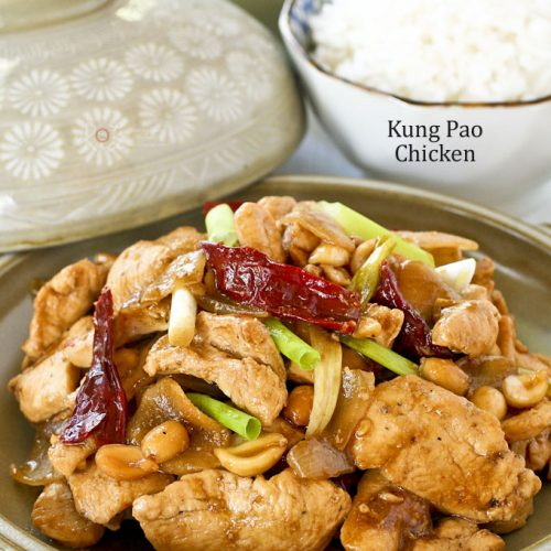 Delicious Kung Pao Chicken served with steamed rice.
