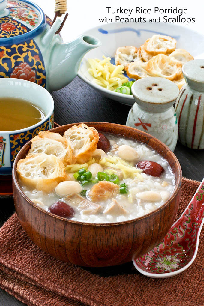 Use your left over Thanksgiving turkey for this warm and comforting Turkey Rice Porridge with Peanuts and Scallops. Makes a wonderful breakfast or brunch. | RotiNRice.com