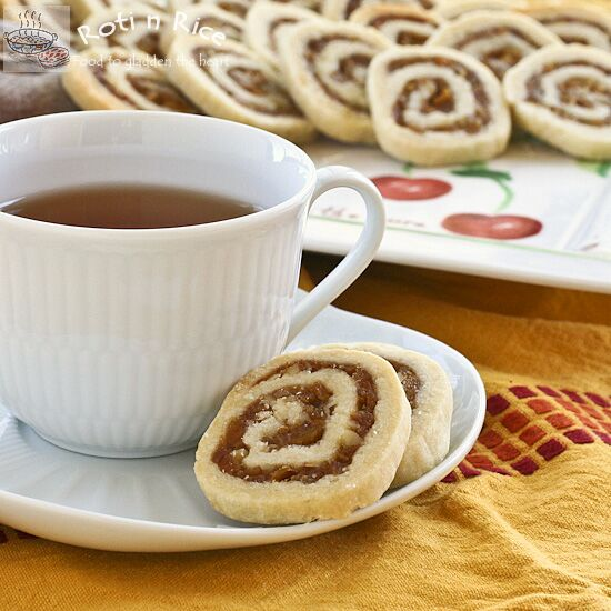 Sweet and nutty Persimmon and Walnut Pinwheel Cookies combining chopped dried persimmons and walnuts swirled with a buttery dough. A must try! | RotiNRice.com