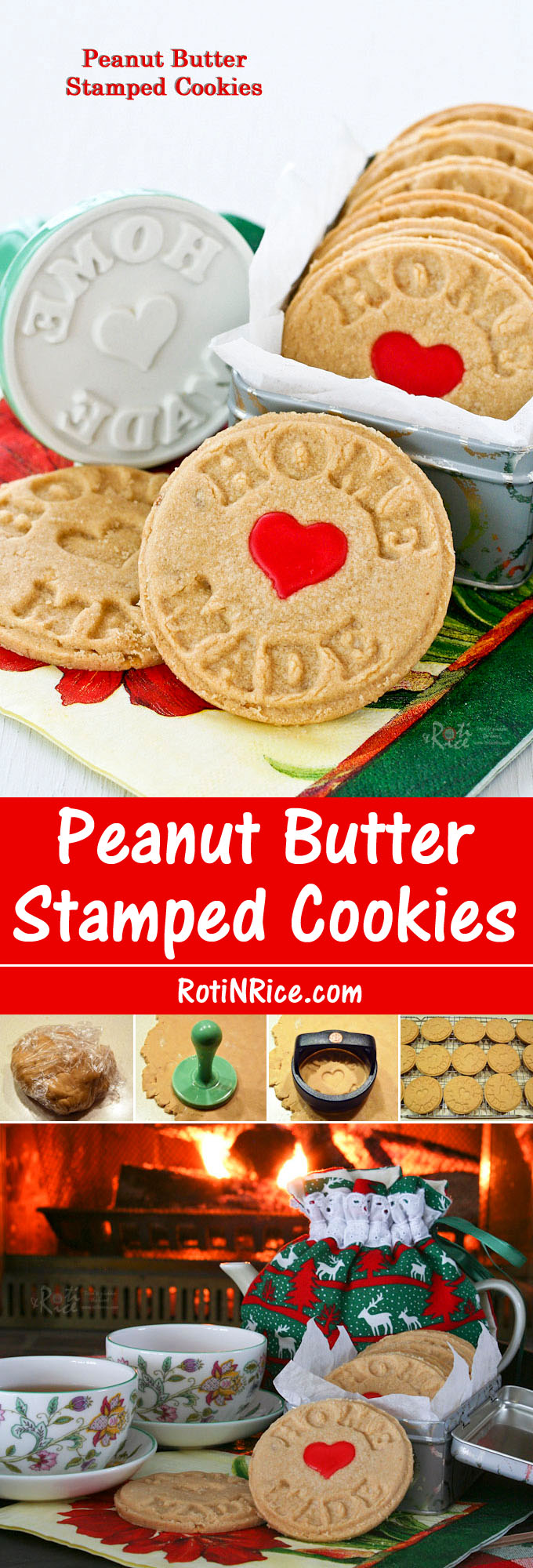 These buttery and fragrant Peanut Butter Stamped Cookies uses only 4 ingredients. They make a delightful tea time treat or snack. | Food to gladden the heart at RotiNRice.com