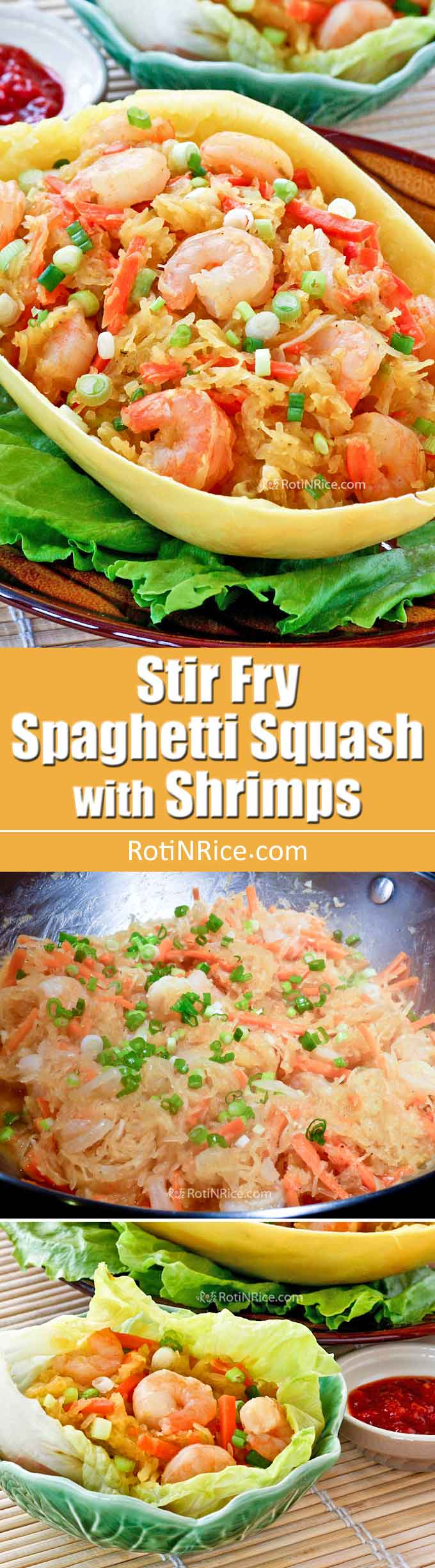 This delicious Stir-Fry Spaghetti Squash with Shrimp is a twist on the classic Jiu Hu Char (stir Fry Jicama), often served as a filling for lettuce wraps. | RotiNRice.com