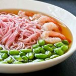 Ume Somen with Edamame and Shrimp - a light and tasty dish featuring plum flavored soft wheat noodles in a clear dashi broth. | RotiNRice.com #umesomen #somen #edamame