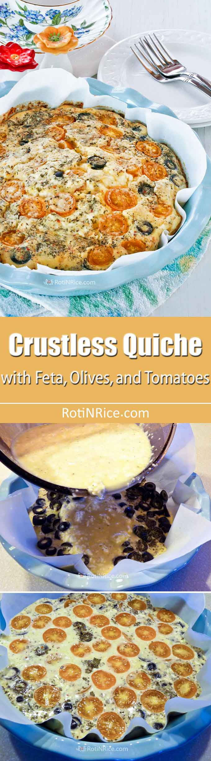 Treat your family to this creamy and fluffy Crustless Quiche with Feta, Olives, and Tomatoes. There is minimum prep time involved and it can feed up to 8. | RotiNRice.com