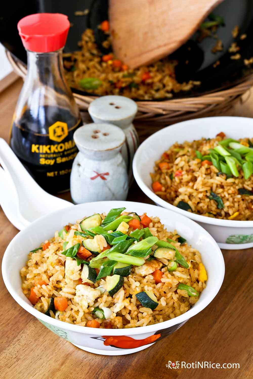 Super quick and easy Zucchini and Egg Fried Rice.