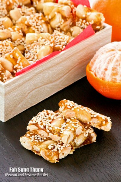 Fresh, light, and crunchy Peanut and Sesame Brittle.